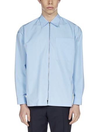 Prada Logo And Zip Cotton Shirt