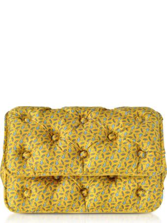Benedetta Bruzziches Sharks Printed Yellow Satin Silk Carmen Shoulder Strap