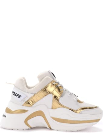 Naked Wolfe Track Model Naked Wolfe Sneaker In White Leather With Gold Coconut Inserts