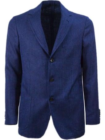 Sartorio Napoli Blue Silk, Linen And Cotton Blazer