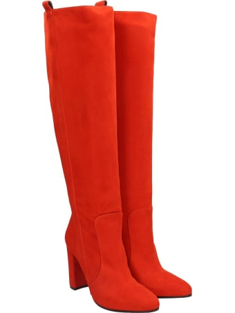 Via Roma 15 High Heels Boots In Orange Suede