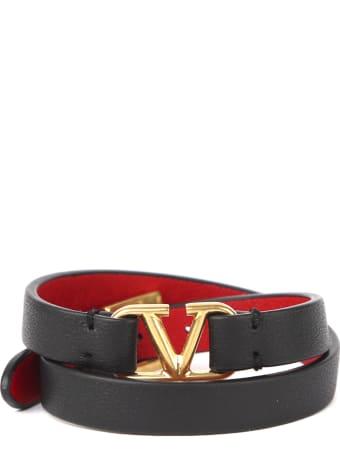 Valentino Garavani Vlogo Double Leather Bracelet