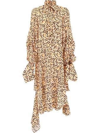 Rokh Asymmetric Animalier Dress