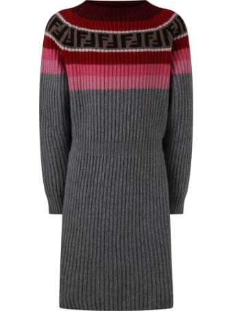 Fendi Grey Dress For Girl With Double Ff
