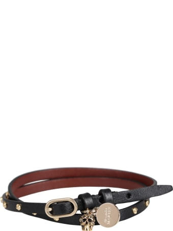 Alexander McQueen Leather Bracelet With Medallion And Skull