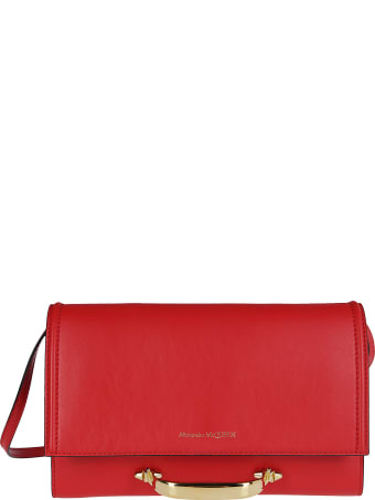 Alexander McQueen Red Leather The Story Shoulder Bag