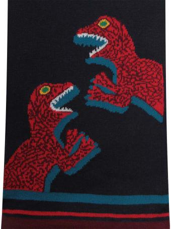 Paul Smith Junior Blue Boy Scarf With Colorful Dinosaus