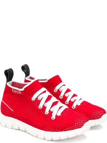 Baby Dior Red Knit Sneakers