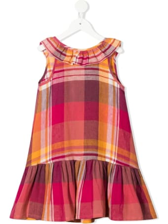 Il Gufo Check Print Linen Dress