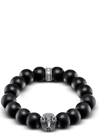 Thomas Sabo Power Falcon Sterling Silver Bracelet W/obsidian Matt Beads And Onyx