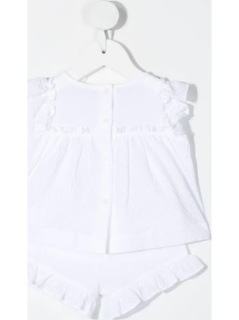 Il Gufo Newborn Two-piece Suit In White Cotton With Application