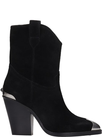 Ash Elvis Ankle Boots In Black Suede