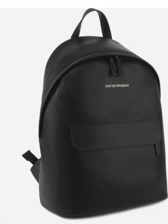 Emporio Armani Backpack In Regenerated Leather With Saffiano Print