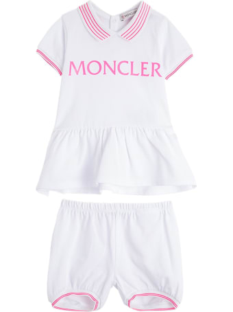 Moncler T-shirt And Shorts Cotton Suit With Logo Print