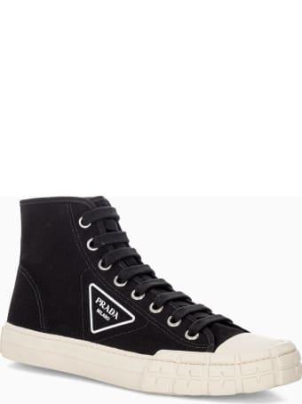 Prada Cotton Canvas High-top Sneakers