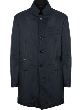 Fay Blue Technical Gabardine Coat