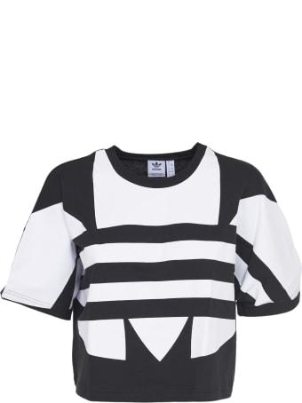 Adidas Originals Black Crop T-shirt With Maxi Logo