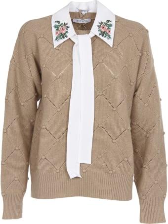 Vivetta Beige Sweater With Shirt Collar