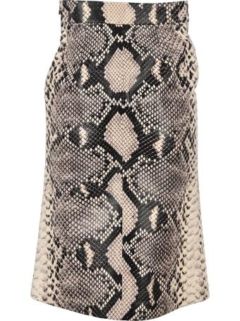 Prada Snake Effect Leather Skirt