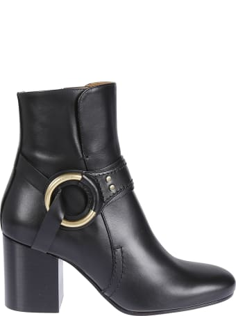 Chloé Stud Leather Ankle Boots