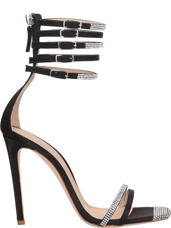 Sebastian Milano Sandals In Black Satin