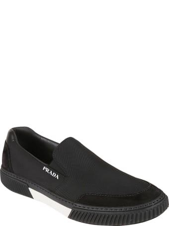 Prada Linea Rossa Side Logo Stitched Detail Loafers