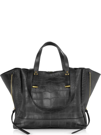 Jerome Dreyfuss Georges M Croco Embossed Leather Tote Bag