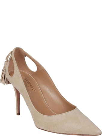 Aquazzura Nude Leather Marilyn Pumps
