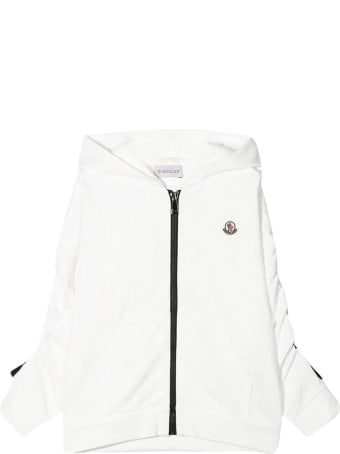 Moncler White Sweatshirt With Zip , Hood And Logo