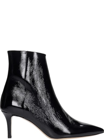 Fabio Rusconi High Heels Ankle Boots In Black Patent Leather