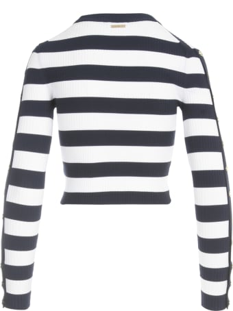 MICHAEL Michael Kors Stripe Sweater W/snap Sleeves