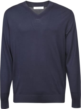 Malo Plain Ribbed V-neck Sweatshirt
