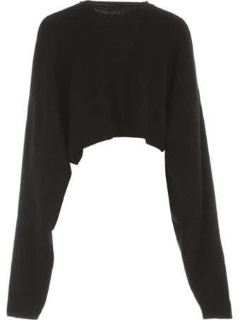 Y's Waist Wrap Short Sweater L/s Crew Neck