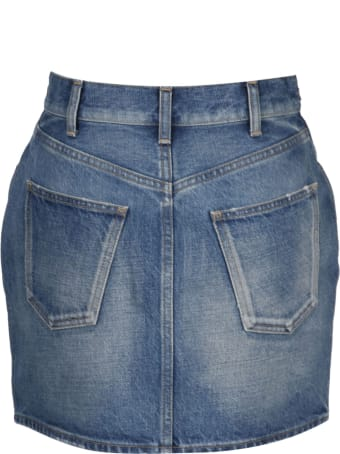Celine Denim Skirt With Trimphe Clamps
