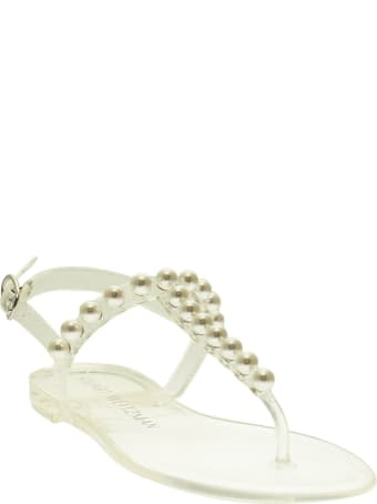 Stuart Weitzman Goldie Jelly - Thong Sandal With Pearls