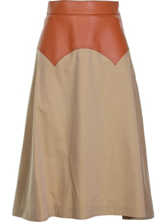 Loewe Tan And Beige Midi Skirt