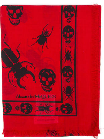 Alexander McQueen Skull And Insect Printed Red Scarf