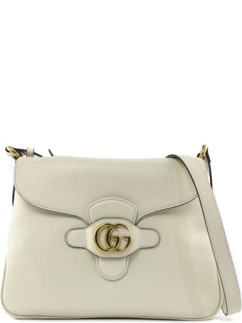Gucci White Leather Messenger Bag