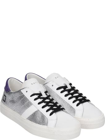 D.A.T.E. Hill Low Sneakers In Silver Leather