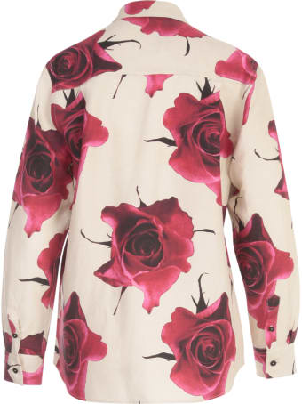 Paul Smith Flowers Printing Shirt W/lapel On Wrists
