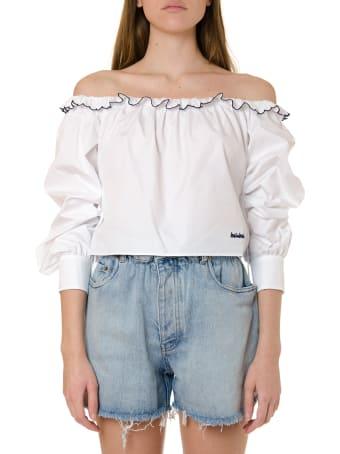 Miu Miu White Cotton Cropped Blouse