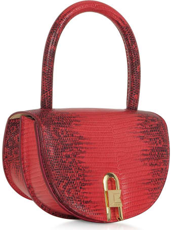 Salar Winnie Lizard Cherry Embossed Leather Top Handle Bag