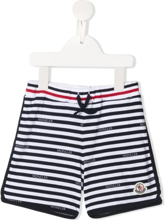Moncler Newborn Shorts With White And Blue Stripes With Logo