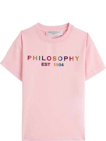 Philosophy di Lorenzo Serafini Kids Cotton T-shirt With Multicolor Logo