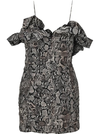 Magda Butrym Snakeskin-print Ruffle Dress