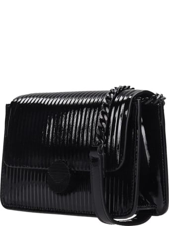 Visone Lizzy Striato Tote In Black Patent Leather