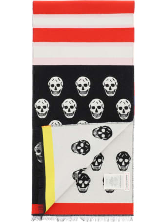 Alexander McQueen Scarf With Skull & Stripes