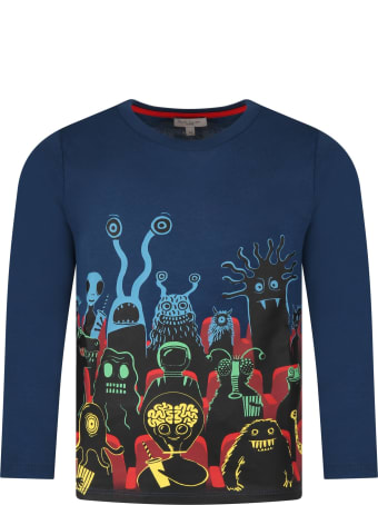 Paul Smith Junior Blue T-shirt For Kids With Monster
