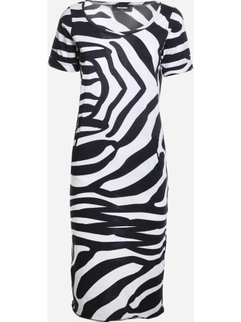 Dsquared2 Cotton Midi Dress With Zebra Print