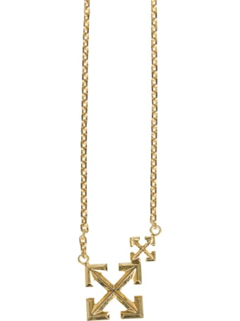 Off-White Necklace With Double Arrow Logo